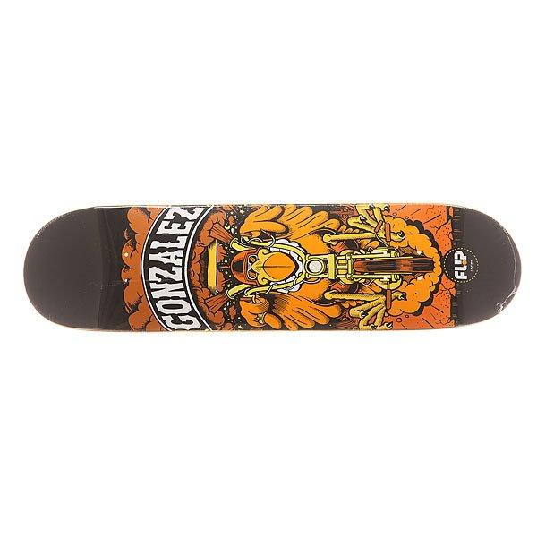 Дека для скейтборда для скейтборда Flip S6 Gonzalez Comix 31.5 x 8.0 (20.3 см)Ширина деки: 8.0 (20.3 см)    Длина деки: 31.5 (80 см)    Количество слоев: 7Про-модель от David Gonzalez из серии комиксов Flip Skateboards. Прочная, но динамичная  дека из клена в оригинальном дизайне от Flip.Технические характеристики: Конструкция из 7 слоев североамериканского клена.Конкейв Medium.Колесная база 35,6 см.<br><br>Цвет: оранжевый,черный<br>Тип: Дека для скейтборда<br>Возраст: Взрослый<br>Пол: Мужской