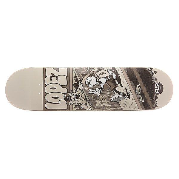 Дека для скейтборда для скейтборда Flip S6 Lopez Comix 32.31 x 8.25 (21 см)Ширина деки: 8.25 (21 см)    Длина деки: 32.31 (82.1 см)    Количество слоев: 7Про-модель от Louie Lopez из серии комиксов Flip Skateboards. Прочная, но динамичная  дека из клена в оригинальном дизайне от Flip.Технические характеристики: Конструкция из 7 слоев североамериканского клена.Конкейв Medium.Колесная база 36,2 см.<br><br>Цвет: черный,серый<br>Тип: Дека для скейтборда<br>Возраст: Взрослый<br>Пол: Мужской