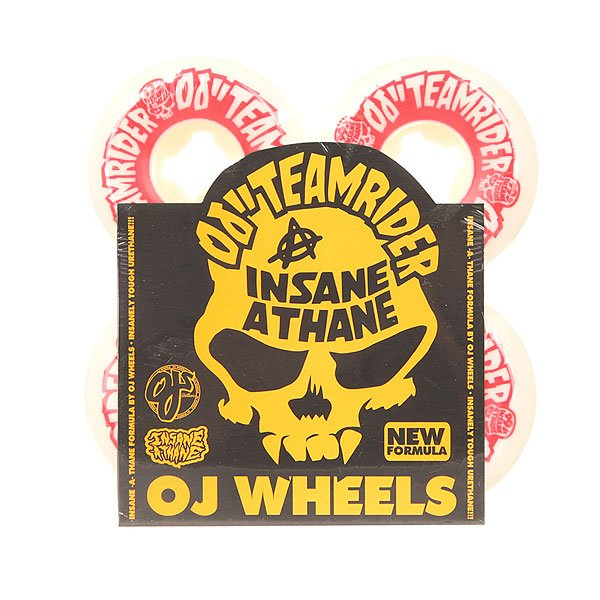 Колеса для скейтборда для скейтборда Oj Team Rider Hard Line Insaneathane White/Red 99A 54 mmДиаметр: 54 mm    Жесткость: 99A    Цена указана за комплект из 4-х колес<br><br>Цвет: белый,красный<br>Тип: Колеса для скейтборда<br>Возраст: Взрослый<br>Пол: Мужской