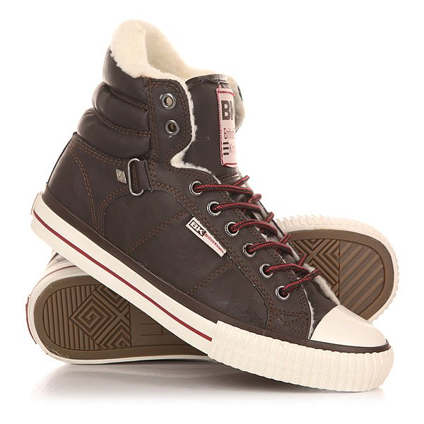 Кеды утепленные женские British Knights Atoll Velcro Dk Brown/Burgundy