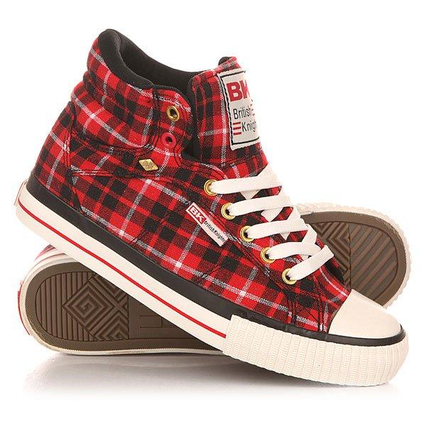 Кеды кроссовки высокие женские British Knights Dee Red/Black/Check цены онлайн