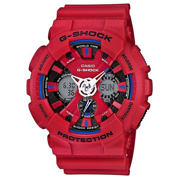 Электронные часы Casio G-Shock Ga-120tr-4a RedФункциональные спортивные часы в ударопрочном корпусе из полимерного пластика в контрастной цветовой гамме в стиле триколор.Технические характеристики: Автоматическая светодиодная подсветка.Ударопрочная конструкция защищает от ударов и вибрации.Функция мирового времени.Секундомер.Таймер обратного отсчета с функцией автоповтора.Будильник - до 5 независимых ежедневных сигналов.Функция повтора сигнала будильника.Ежечасный сигнал.Полностью автоматический календарь.12/24-часовое отображение времени.Минеральное стекло.Корпус из полимерного пластика.Ремешок из полимерного материала.Устойчивость к воздействию магнитного поля.Срок службы аккумулятора - 3 года.<br><br>Цвет: красный<br>Тип: Электронные часы<br>Возраст: Взрослый<br>Пол: Мужской