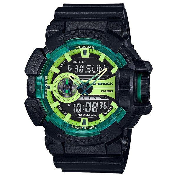 Электронные часы Casio G-Shock Ga-400ly-1a True Black/GreenМужские наручные часы в спортивном стиле с ударопрочным корпусом из полимерного пластика.Технические характеристики: Автоматическая светодиодная подсветка.Ударопрочная конструкция защищает от ударов и вибрации.Функция мирового времени.Секундомер.Таймер обратного отсчета.Будильник - до 5 независимых ежедневных сигналов.Функция повтора сигнала будильника.Ежечасный сигнал.Включение/выключение звука кнопок.Полностью автоматический календарь.12/24-часовое отображение времени.Колесо прокрутки.Минеральное стекло.Корпус из полимерного пластика.Ремешок из полимерного материала.Устойчивость к воздействию магнитного поля.Срок службы аккумулятора - 3 года.<br><br>Цвет: черный,зеленый<br>Тип: Электронные часы<br>Возраст: Взрослый<br>Пол: Мужской