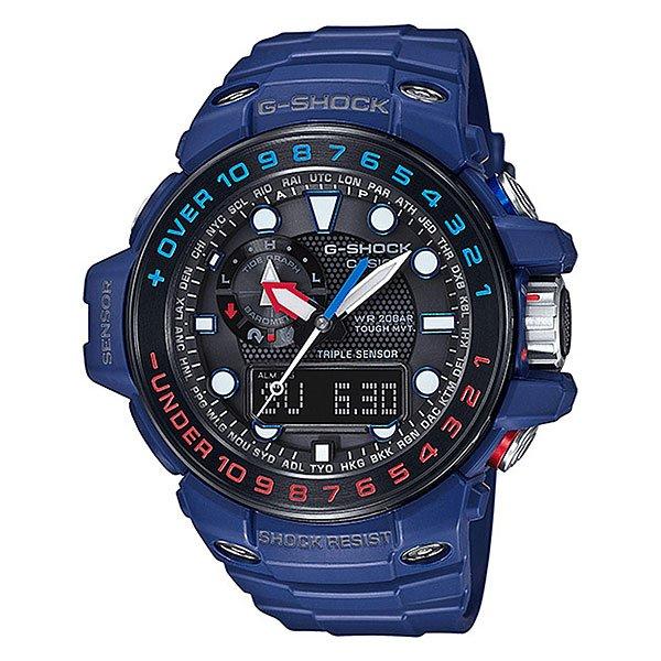 Электронные часы Casio G-Shock Premium Gwn-1000h-2a Denim/BlackСильные, функциональные и невероятно стильные наручные часы с широким набором опций, без которых невозможно обойтись, если Вы неустанный путешественник или Ваша сфера деятельности связана с длительными поездками. Часы имеют ударопрочный корпус с безелем из нержавеющей стали, а все наружные металлические детали надежно защищены от коррозии.Технические характеристики: Двойная полностью автоматическая светодиодная подсветка.Светонакопитель Neobrite.Компас.Измерение температуры.Измерение барометрического давления.Измерение высоты над уровнем моря.Отображение возраста луны на основе введенных координат.Отображение таблицы приливов-отливов.Питание от солнечной энергии.Прием радиосигнала точного времени (Европа, США, Япония, Китай).Функция мирового времени.Секундомер.Таймер обратного отсчета.Будильник.Ежечасный сигнал.Включение/выключение звука кнопок.Перемещение стрелок часов для просмотра показаний дисплея.Полностью автоматический календарь.12/24-часовое отображение времени.Индикатор зарядки элемента питания.Минеральное стекло.Корпус из полимерного пластика.Безель из нержавеющей стали с IP покрытием.Ремешок из полимерного материала.Устойчивость к воздействию коррозии.Ударопрочная конструкция защищает от ударов и вибрации.<br><br>Цвет: черный,синий<br>Тип: Электронные часы<br>Возраст: Взрослый<br>Пол: Мужской