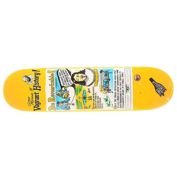 Дека для скейтборда для скейтборда Antihero Trujillo Vagrant History Multi 32 x 8.06 (20.5 см)Ширина деки: 8.06 (20.5 см)    Длина деки: 32 (81.3 см)    Количество слоев: 7<br><br>Цвет: мультиколор,желтый<br>Тип: Дека для скейтборда<br>Возраст: Взрослый<br>Пол: Мужской