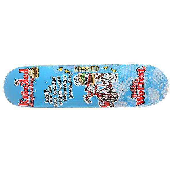 Дека для скейтборда для скейтборда Krooked Worrest Burger Gang Light Blue/Multi 32 x 8.125 (20.6 см)Ширина деки: 8.125 (20.6 см)    Длина деки: 32 (81.3 см)    Количество слоев: 7<br><br>Цвет: голубой,мультиколор<br>Тип: Дека для скейтборда<br>Возраст: Взрослый<br>Пол: Мужской