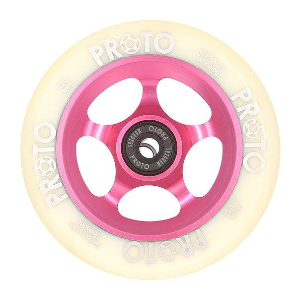Колесо для самоката Proto 110 Мм Slider White On PinkЯркие и долговечные уретановые колеса выдержат любые испытания асфальтоми преобразят Ваш скейтборд. Характеристики:Диаметр: 110 мм.Алюминиевые перегородки.<br><br>Цвет: розовый,белый<br>Тип: Колесо для самоката<br>Возраст: Взрослый<br>Пол: Мужской