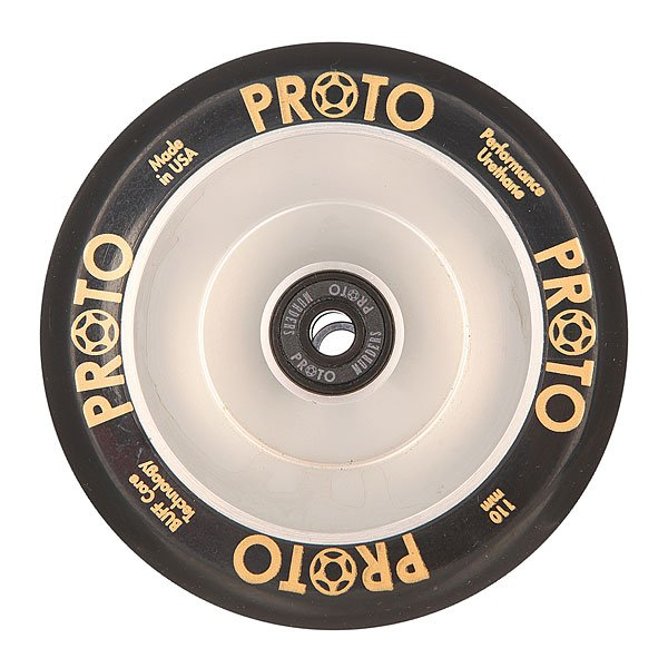 Колесо для самоката Proto 110 Мм Full Core Gripper Black On SilverProto – колеса класса премиум для вашего самоката.Характеристики:Диаметр: 110 мм. Сердечники, изготовленные из одной заготовки из алюминия. Сделано в США. Вес: 212 г.<br><br>Цвет: черный,серый<br>Тип: Колесо для самоката<br>Возраст: Взрослый<br>Пол: Мужской
