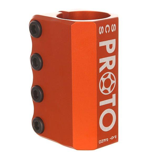 Зажимы Proto Baby Scs OrangeЗажим со стандартной системой SCS, только немного меньше и соответственно легче. Только для стандартного руля.Технические характеристики: Материал - алюминий 6061-T6.Система SCS.4 болта.<br><br>Цвет: оранжевый<br>Тип: Зажимы<br>Возраст: Взрослый<br>Пол: Мужской