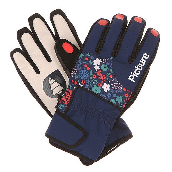 Перчатки женские Picture Organic Pretty Glove Flower<br><br>Цвет: синий,мультиколор<br>Тип: Перчатки<br>Возраст: Взрослый<br>Пол: Женский