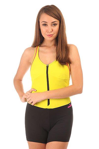 Комбинезон для фитнеса женский CajuBrasil Nz Ziper Yellow/Black