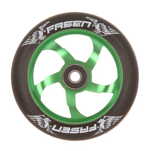 Колесо для самоката Fasen Raven Wheel Green/BlackКолесо для самоката Fasen Raven.Характеристики:Диаметр колес: 110 мм. Сердечник: алюминиевый, со спицами. Твердость PU: 88А.Предустановленные ABEC 9 подшипники. Вес: 223 г.<br><br>Цвет: черный,зеленый<br>Тип: Колесо для самоката<br>Возраст: Взрослый<br>Пол: Мужской