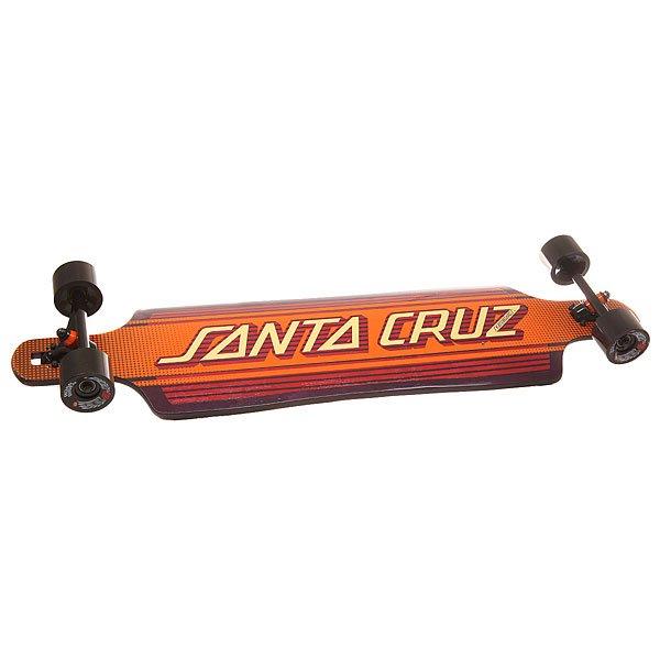 Лонгборд Santa Cruz S6 Inlay Drop Thru Cruzer Strip 10 x 40 (101.6 см)Лонгборд Santa Cruz S6 Inlay Drop Thru Cruzer Strip – первый в своем роде лонгборд с кевларовой прослойкой. А это означает революционную прочность совместно с конструкцией Drop Thru.Характеристики:Подвески:180mm Road Rider.Колеса: Road Rider 72mm, 78a.<br><br>Цвет: оранжевый,бордовый<br>Тип: Лонгборд<br>Возраст: Взрослый<br>Пол: Мужской
