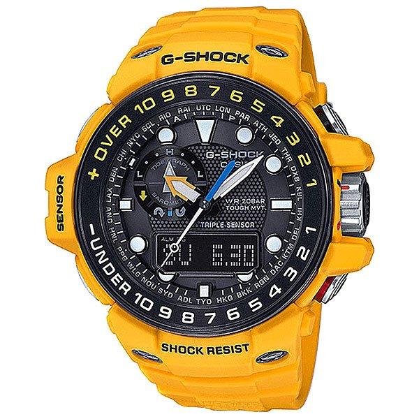 Электронные часы Casio G-Shock Premium Gwn-1000h-9a YellowДинамичные наручные часы  с широким набором опций, которые идеально подойдут для людей, чей образ жизни тесно связан с дальними поездками, путешествиями или активным отдыхом на воде.Технические характеристики: Сверхмощная полностью автоматическая светодиодная подсветка.Ударопрочная конструкция защищает от ударов и вибрации.Солнечная батарейка.Прием радиосигнала (Европа, США, Япония, Китай).Барометр (260 / 1.100 гПа).Термометр (-10°C / +60°C).Цифровой компас.Высотомер 10,000 м.График приливов/отливов.Отображение фазы луны.Память данных высотомера.Функция мирового времени.Функция секундомера- 1/100 сек. - 24 часа.Таймер - 1/1 мин. - 1 час.5 ежедневных будильников.Функция повтора будильника.Включение/выключение звука кнопок.Автоматический календарь.12/24-часовое отображение времени.Минеральное стекло.Корпус из прочного полимерного пластика и нержавеющей стали.Ремешок из полимерного материала.<br><br>Цвет: желтый<br>Тип: Электронные часы<br>Возраст: Взрослый<br>Пол: Мужской