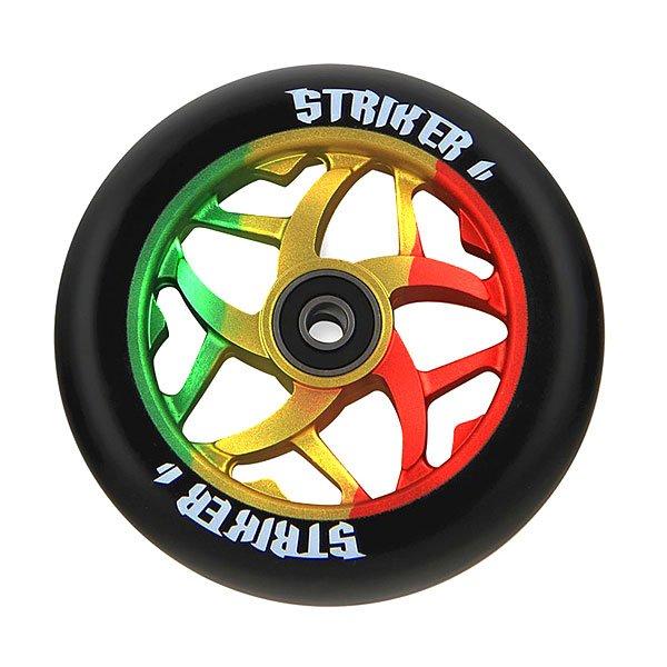 Колесо для самоката Striker Essence Wheel RastaСтильные колеса с ярким сердечником.Технические характеристики: Высококачественный полиуретан.Алюминий 6061 T6.Диаметр - 110 мм, жесткость - 85А.<br><br>Цвет: черный,мультиколор<br>Тип: Колесо для самоката<br>Возраст: Взрослый<br>Пол: Мужской