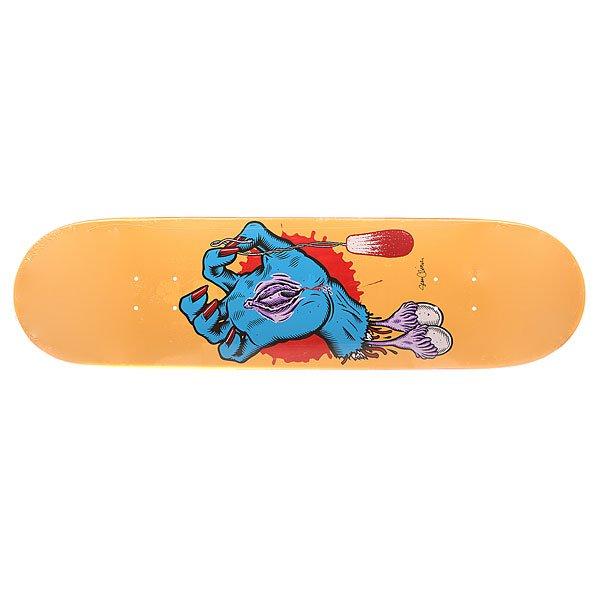 Дека для скейтборда для скейтборда Santa Cruz S6 Cliver Hand 32.2 x 8.5 (21.6 см)Ширина деки: 8.5 (21.6 см)    Длина деки: 32.2 (81.8 см)    Количество слоев: 7Дизайн от Sean Cliver. Классическая дека для скейтборда из североамериканского клена способна выдержать максимальные нагрузки и воплотить Ваши идеи в реальность.Технические характеристики: Североамериканский клен.Конкейв Medium.Колесная база 36,5 см.<br><br>Цвет: оранжевый,мультиколор<br>Тип: Дека для скейтборда<br>Возраст: Взрослый<br>Пол: Мужской