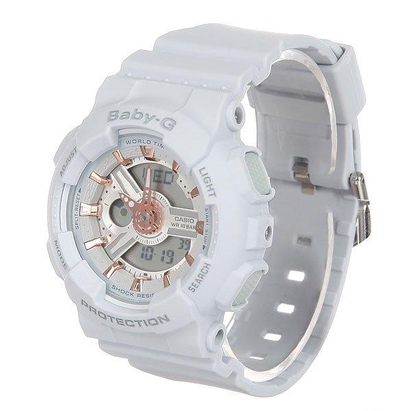 Электронные часы детские Casio Baby-g Ba-110ga-8a GreyПрочные многофункциональные часы в современном городском стиле найдут признание среди девушек, которые любят активный отдых.Технические характеристики: Светодиодная подсветка.Ударопрочная конструкция защищает от ударов и вибрации.Функция мирового времени.Функция секундомера- 1/100 сек. - 24 часа.Таймер - 1/1 мин. - 24 часа.5 ежедневных будильников.Функция повтора будильника.Включение/выключение звука кнопок.Автоматический календарь.12/24-часовое отображение времени.Минеральное стекло.Корпус из полимерного пластика.Ремешок из полимерного материала.Срок службы аккумулятора - 2 года.Точность +/- 30 сек в месяц.<br><br>Цвет: серый<br>Тип: Электронные часы<br>Возраст: Детский