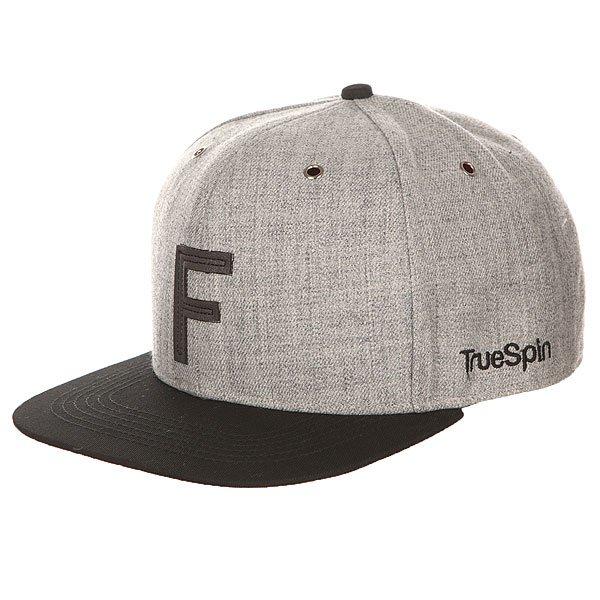 Бейсболка с прямым козырьком TrueSpin Abc Snapback Dark Grey/Black Leather-f
