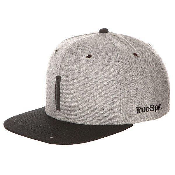 Бейсболка с прямым козырьком TrueSpin Abc Snapback Dark Grey/Black Leather-i бейсболка truespin abc wool edition t grey