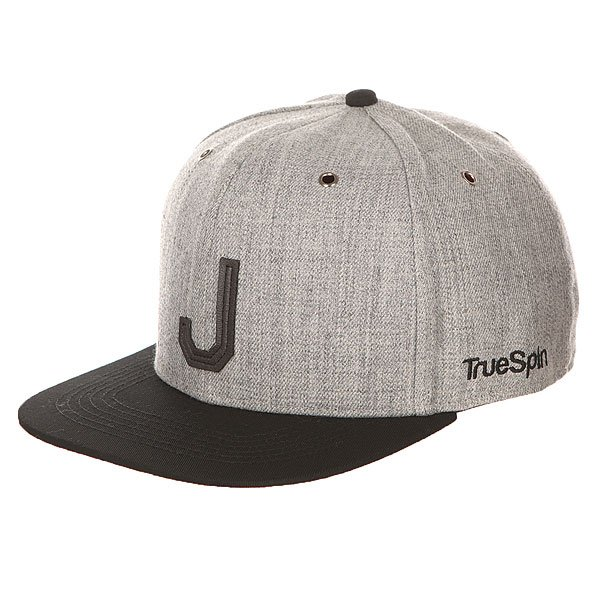 Бейсболка с прямым козырьком TrueSpin Abc Snapback Dark Grey/Black Leather-j бейсболка truespin vato snapback dark grey white o s