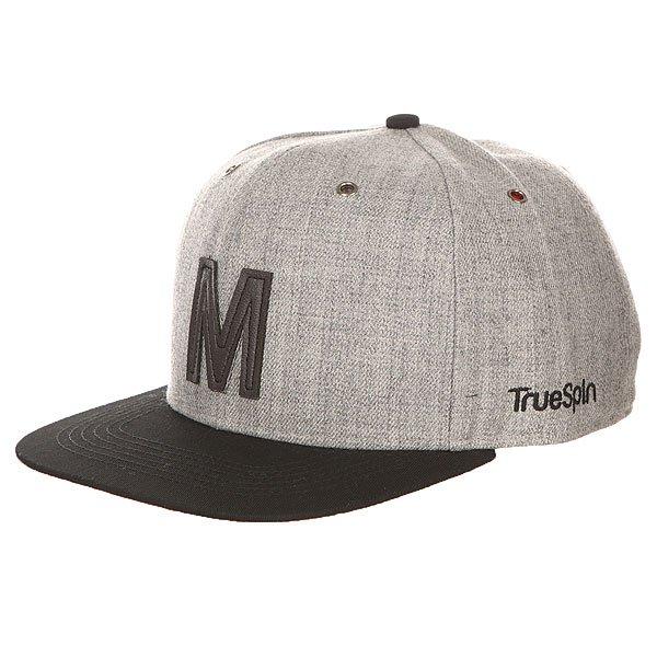 Бейсболка с прямым козырьком TrueSpin Abc Snapback Dark Grey/Black Leather-m<br><br>Цвет: серый,черный<br>Тип: Бейсболка с прямым козырьком<br>Возраст: Взрослый
