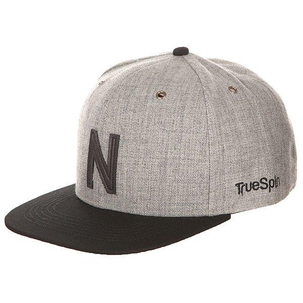 Бейсболка с прямым козырьком TrueSpin Abc Snapback Dark Grey/Black Leather-n бейсболка truespin abc wool edition t grey