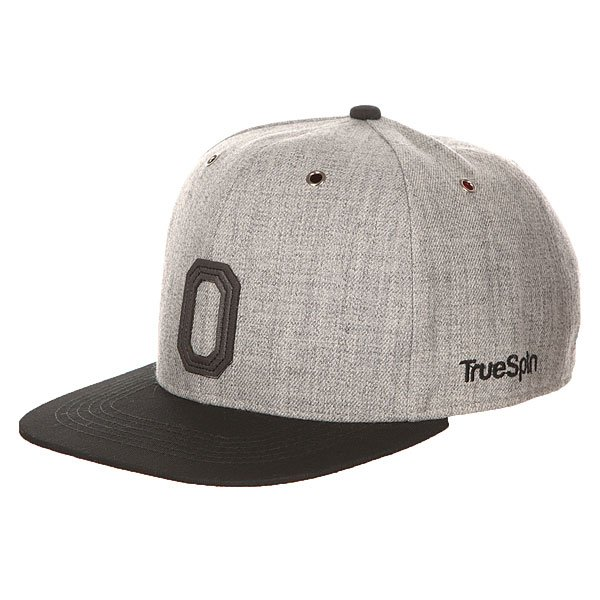 Бейсболка с прямым козырьком TrueSpin Abc Snapback Dark Grey/Black Leather-o бейсболка truespin vato snapback dark grey white o s