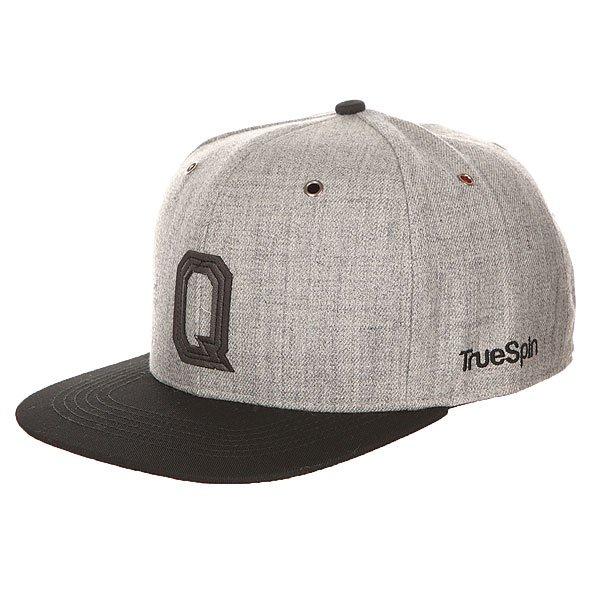 Бейсболка с прямым козырьком TrueSpin Abc Snapback Dark Grey/Black Leather-q бейсболка truespin abc wool edition t grey