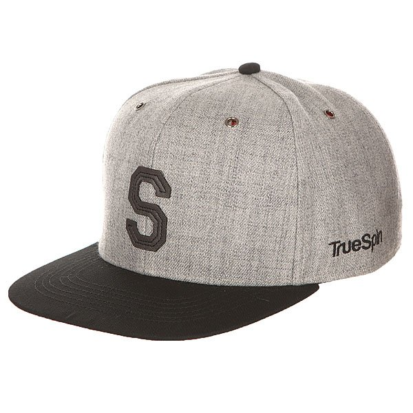 Бейсболка с прямым козырьком TrueSpin Abc Snapback Dark Grey/Black Leather-s бейсболка truespin vato snapback dark grey white o s