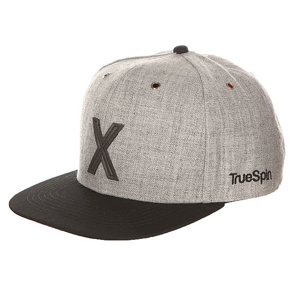 Бейсболка с прямым козырьком TrueSpin Abc Snapback Dark Grey/Black Leather-x бейсболка truespin vato snapback dark grey white o s