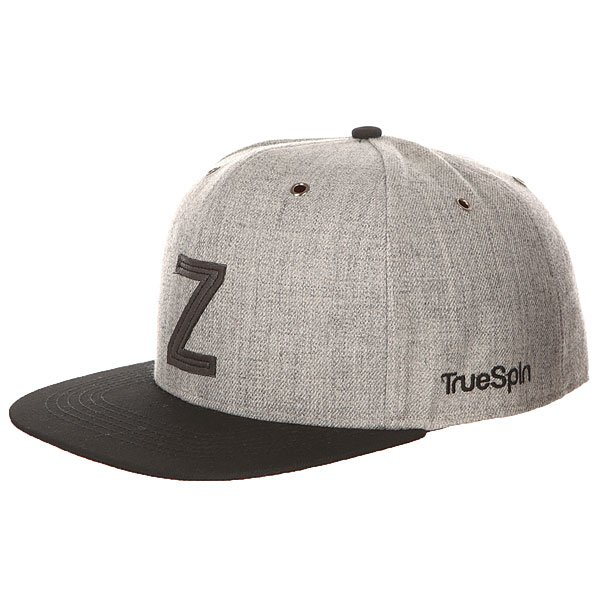Бейсболка с прямым козырьком TrueSpin Abc Snapback Dark Grey/Black Leather-z бейсболка truespin vato snapback dark grey white o s