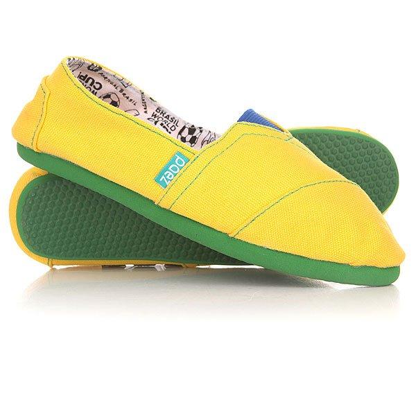 Эспадрильи Paez Mundial BrasilУдобная и легкая обувь на лето от аргентинского производителя - Paez. Стильные и качественные эспадрильи, с ортопедической стелькой, будут уместны при любой обстановке и станут отличным дополнением к Вашему гардеробу. Такая обувь отлично подойдет и для городских прогулок и для похода на пляж. Эспадрильи очень быстро сохнут и устойчивы к загрязнениям, что делает их универсальной обувью для всех!Характеристики:Быстро высыхают от влаги. Устойчивы к загрязнениям. Удобно снимаются и одеваются: верх с вшитой резинкой. Прочная отделка и качественные материалы.Удобная ортопедическая стелька из кожи с супинатором для поддержания свода стопы. Перфорация кожаной стельки обеспечивает дополнительную вентиляцию для Ваших ног. Двойная строчка с использованием прочной капроновой нити.Оплетка джутом.<br><br>Цвет: желтый<br>Тип: Эспадрильи<br>Возраст: Взрослый<br>Пол: Мужской
