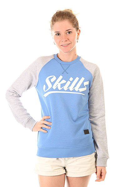 Толстовка свитшот женская Skills Script Logo 4 Crewneck Blue/Grey Melange