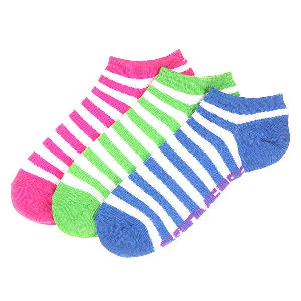 Носки низкие женские Converse 3pp Wednesday Stripe No Show White/Blue/Green/Purple