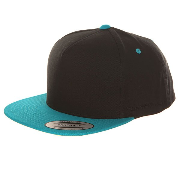 Бейсболка с прямым козырьком Flexfit 6007t Black/Teal бейсболка flexfit independent stock o g b c  flexfit black