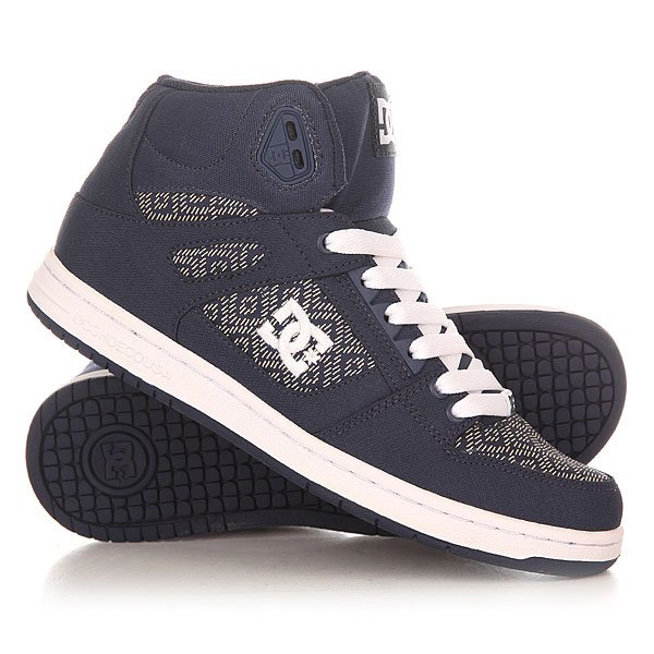 Кеды кроссовки высокие женские DC Shoes Rebound High Tx Navy dc shoes кеды dc shoes rebound high tx se chambray fw17 5