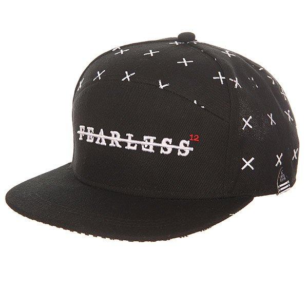 Бейсболка с прямым козырьком TrueSpin Fearless Snapback BlackМужская бейсболка с уникальным вышитым принтом от немецкого бренда TrueSpin.Технические характеристики: Плотная ткань.Прямой козырек.Вентиляционные отверстия.Регулируемая застёжка.Однотонный дизайн с вышитым принтом от TrueSpin.<br><br>Цвет: черный<br>Тип: Бейсболка с прямым козырьком<br>Возраст: Взрослый
