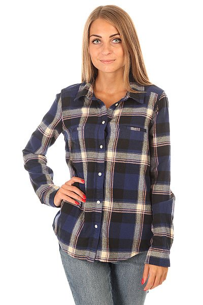 Рубашка в клетку женская Roxy Campay J Wvtp Moon Plaid Combo Blue рубашка в клетку dc kalis plaid ls wvtp kalis plaid chili pepper