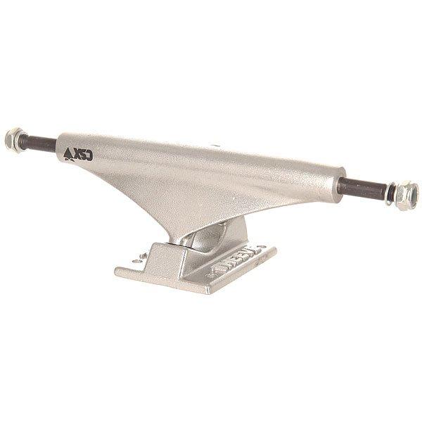 Подвеска для скейтборда 1шт. Theeve Csx Raw 5.85 (21.8 см)Ширина подвесок: 5.85 (21.8 см)    Высота подвесок: 55 мм    Цена указана за 1 шт    Минимальное количество для заказа 2 штКлассические подвески CSX  с отличными техническими характеристиками.Технические характеристики: Классическое металлическое основание.Мост из хромированной стали.Кингпин Grade 8.Бушинги 55 мм.<br><br>Цвет: серый<br>Тип: Подвеска для скейтборда