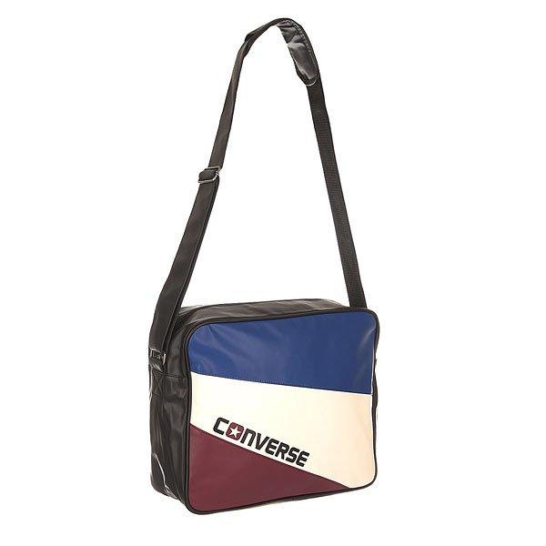 Сумка через плечо Converse Basic Reporter Tricolore Black/Butgundy/White/Blue