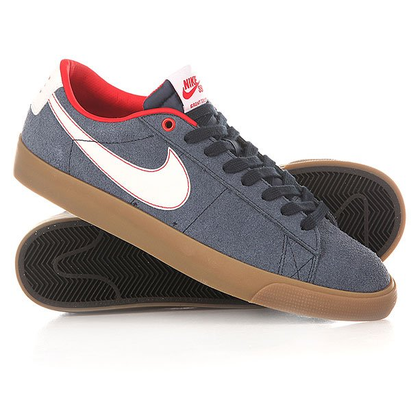 Кеды низкие Nike Blazer Low Gt Obsdian White Unversity/Red Lighter