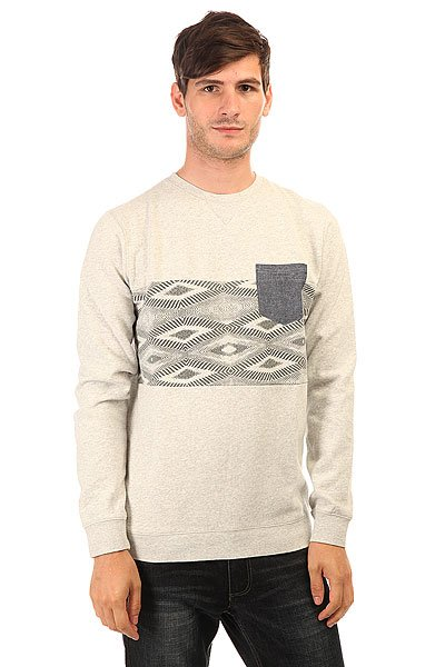 Толстовка свитшот Quiksilver Strangenightcre Otlr Sgrh Light Grey  недорого