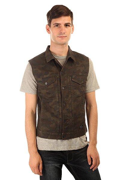 Жилетка Globe Goodstock Denim Vest Camo<br><br>Цвет: коричневый,зеленый,черный<br>Тип: Жилетка<br>Возраст: Взрослый<br>Пол: Мужской