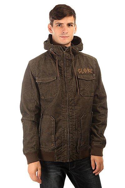 Куртка Globe A Side Jacket BrownОтличная удлиненная куртка. Благодаря утепленной подкладке и капюшону, Вам не страшен ни ветер, ни дождь.Технические характеристики: Подкладка - стеганая тафта.Высокий воротник - стойка.Фиксированный капюшон на завязках.Два боковых кармана для рук на кнопках.Трикотажные манжеты на рукавах.Два накладных нагрудных кармана.Внутренний карман на кнопке.Застежка - молния.<br><br>Цвет: зеленый<br>Тип: Куртка<br>Возраст: Взрослый<br>Пол: Мужской