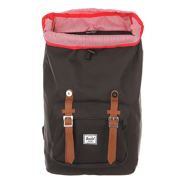 Рюкзак туристический Herschel Little America Black/Tan Synthetic Leather