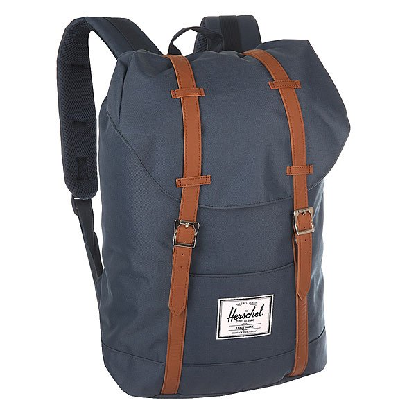 рюкзак-городской-herschel-retreat-navy-tan-synthetic-leather
