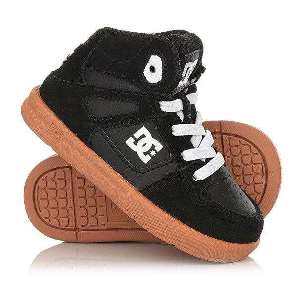 Кеды кроссовки высокие детские DC Rebound Se Black/GumВысокие кожаные кеды Rebound SE  для мальчиков от DC Shoes.Технические характеристики: Кожаный верх.Дышащая подкладка из сетки.Прочный нос с дополнительной накладкой.Перфорация на носке для лучшего воздухообмена.Эластичные шнурки.Удобные язык и лодыжка с пенным наполнителем.Исключительно гибкая и пружинящая подошва UniLite™.Фирменный рисунок протектора подошвы DC Pill Pattern.<br><br>Цвет: черный<br>Тип: Кеды высокие<br>Возраст: Детский