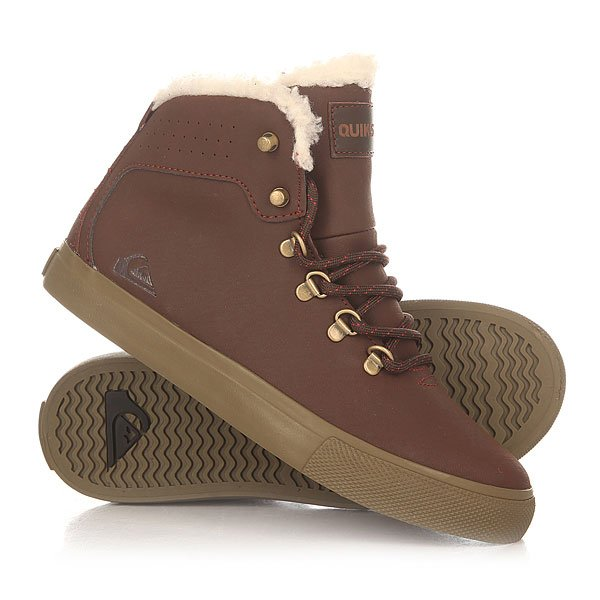 Кеды кроссовки утепленные детские Quiksilver Jax Deluxe BrownУдобные и аккуратные ботинки с бесшовным дизайном носа, выполненные из прочной искусственной кожи и дополненные подкладкой из шерпа-флиса, которая добавляет комфорта, тепла и мягкости. Quiksilver Jax Deluxe станут идеальным вариантом для холодных дней, позволяя составить строгий образ, по сравнению с любимыми кедами.Характеристики:Металлические петли шнуровки и клепки.Подкладка манжета из шерпа флиса. Перфорированный верх. Нашивка с фирменным логотипом на язычке. Конструкция ботинка cupsole. Гибкая резиновая подошва.<br><br>Цвет: коричневый<br>Тип: Кеды утепленные<br>Возраст: Детский