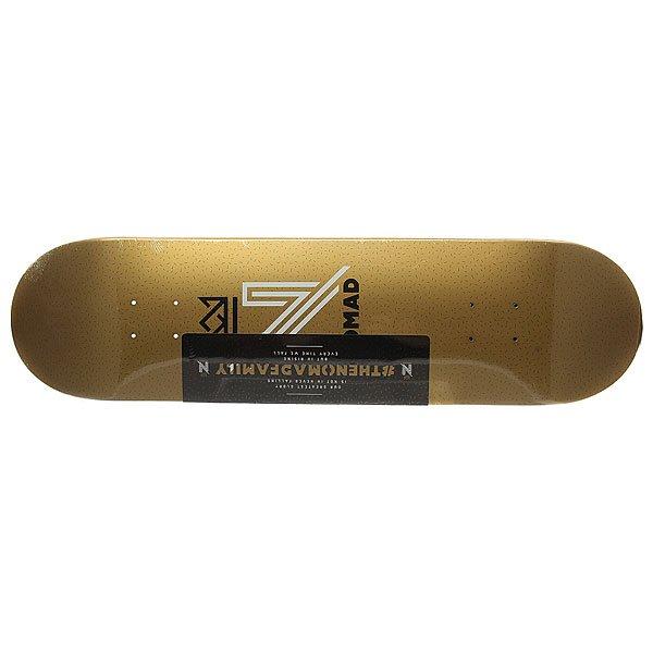 Дека для скейтборда для скейтборда Nomad Og Logo Gold Deck Gold 32 x 8.125 (20.6 см)Ширина деки: 8.125 (20.6 см)    Длина деки: 32 (81.3 см)    Количество слоев: 7Уникальная дека из клена со стильным принтом – подчеркни свой стиль и индивидуальность.Характеристики:Дизайн: Lucas Reis. 7-ми слойная конструкция из канадского клена.Конкейв: средний. Шкурка в комплекте.<br><br>Цвет: желтый<br>Тип: Дека для скейтборда<br>Возраст: Взрослый<br>Пол: Мужской