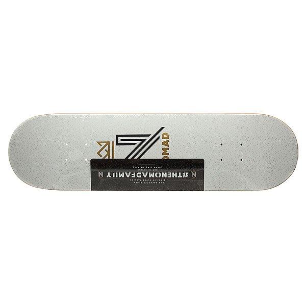Дека для скейтборда для скейтборда Nomad Og Logo White Deck White 32.125 x 8.5 (21.6 см)Ширина деки: 8.5 (21.6 см)    Длина деки: 32.125 (81.6 см)    Количество слоев: 7Уникальная дека из клена со стильным принтом – подчеркни свой стиль и индивидуальность.Характеристики:Дизайн: Lucas Reis. 7-ми слойная конструкция из канадского клена.Конкейв: средний. Шкурка в комплекте.<br><br>Цвет: белый<br>Тип: Дека для скейтборда<br>Возраст: Взрослый<br>Пол: Мужской